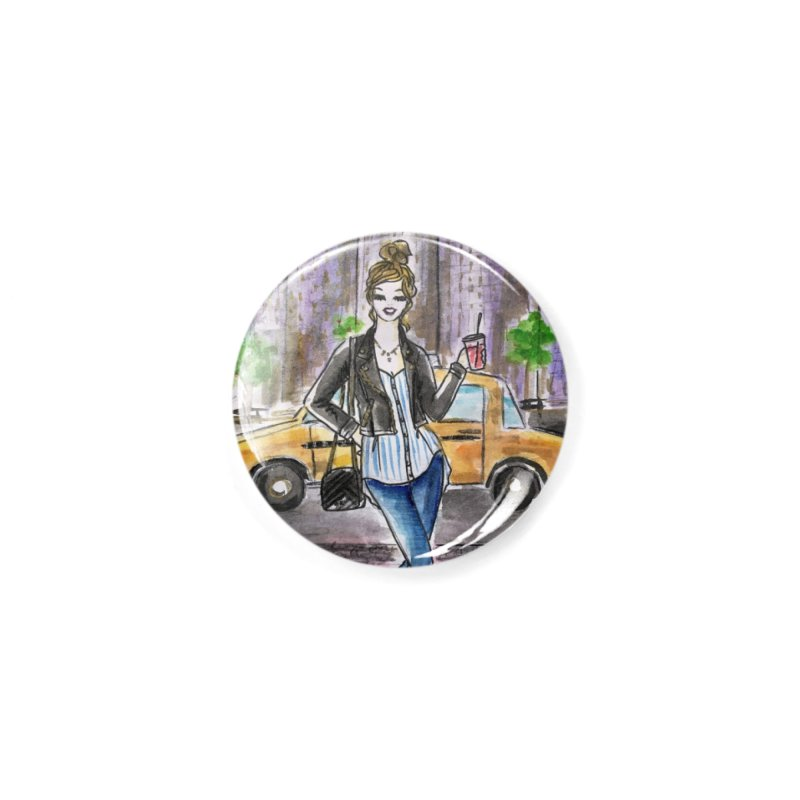 NYC Spring time Taxi Ride Accessories Button by Deanna Kei's Artist Shop