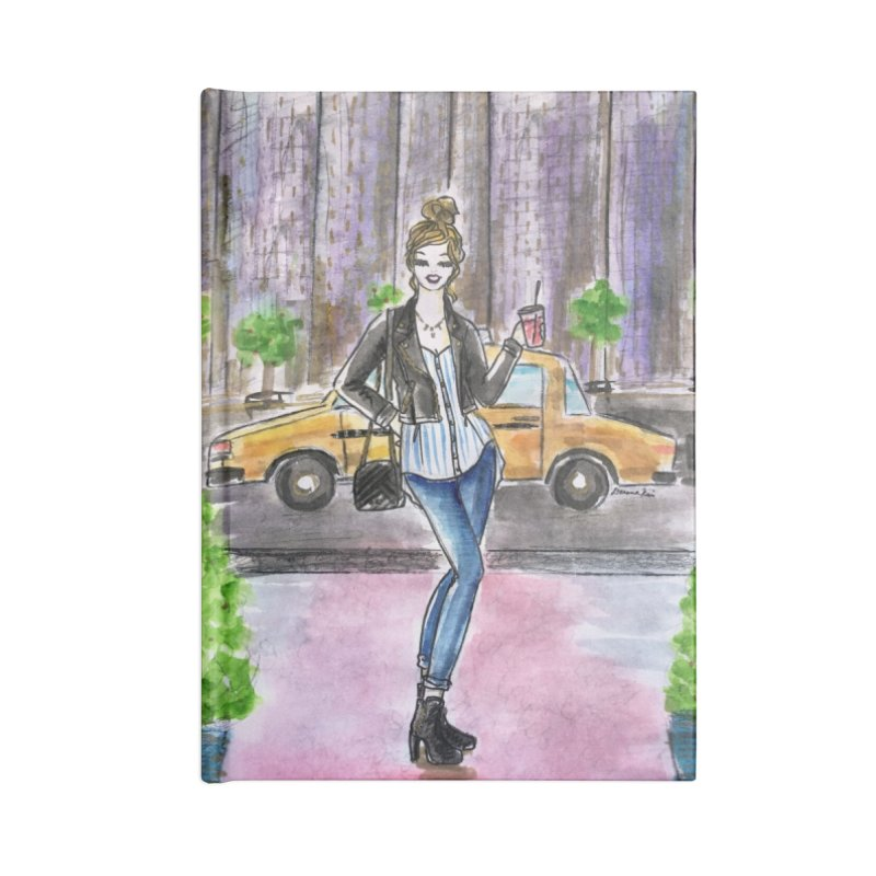 NYC Spring time Taxi Ride Accessories Lined Journal Notebook by Deanna Kei's Artist Shop