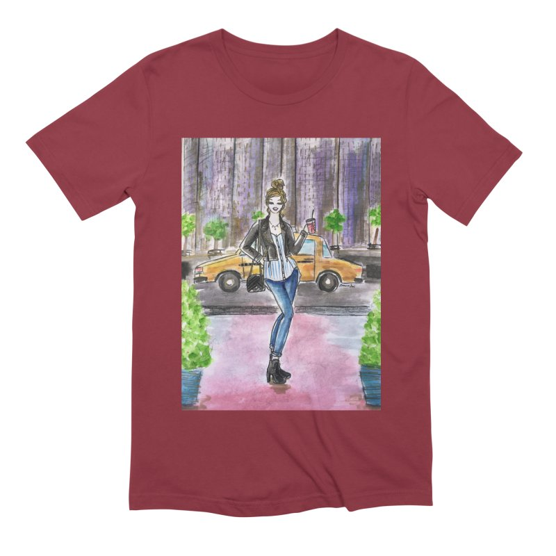 NYC Spring time Taxi Ride Men's Extra Soft T-Shirt by Deanna Kei's Artist Shop