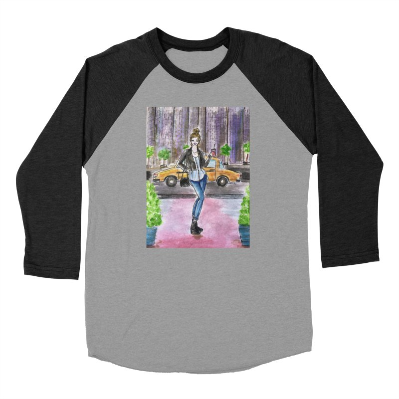 NYC Spring time Taxi Ride Women's Baseball Triblend Longsleeve T-Shirt by Deanna Kei's Artist Shop
