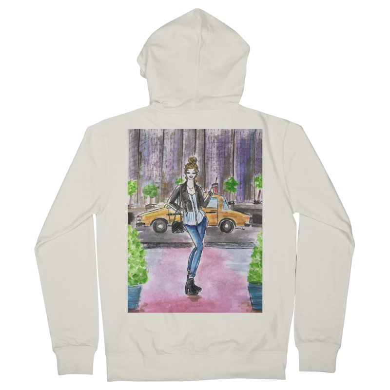 NYC Spring time Taxi Ride Women's French Terry Zip-Up Hoody by Deanna Kei's Artist Shop