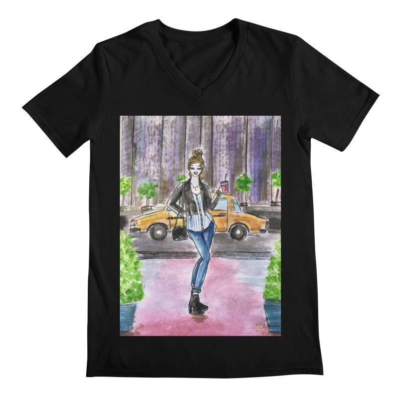 NYC Spring time Taxi Ride Men's Regular V-Neck by Deanna Kei's Artist Shop