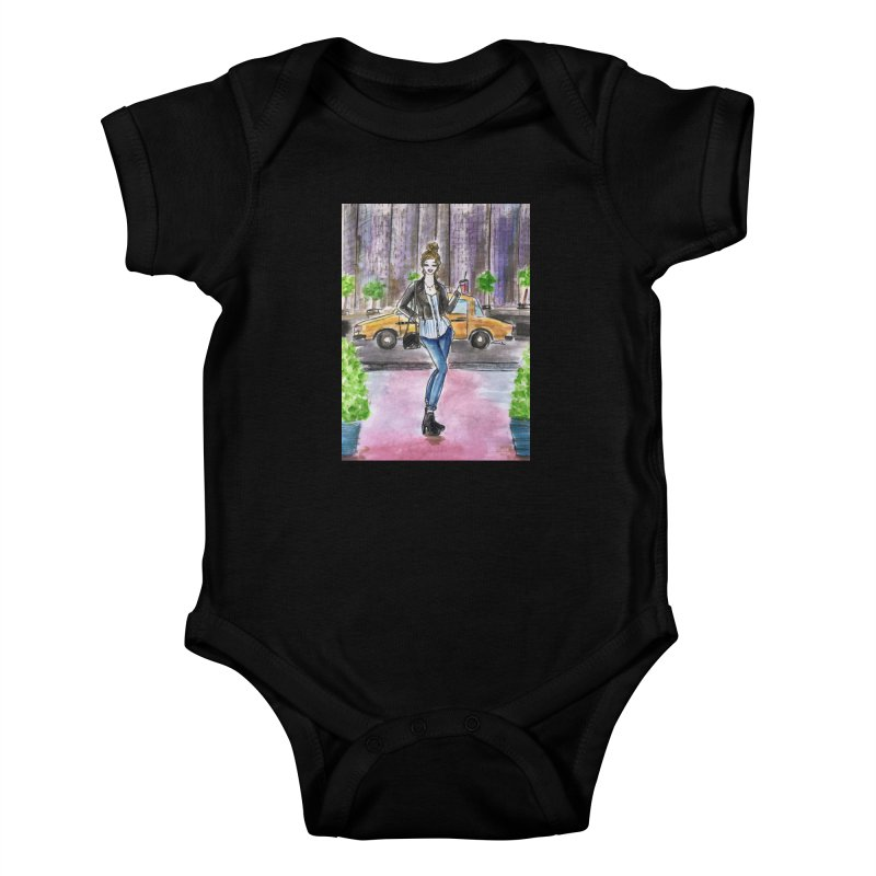 NYC Spring time Taxi Ride Kids Baby Bodysuit by Deanna Kei's Artist Shop