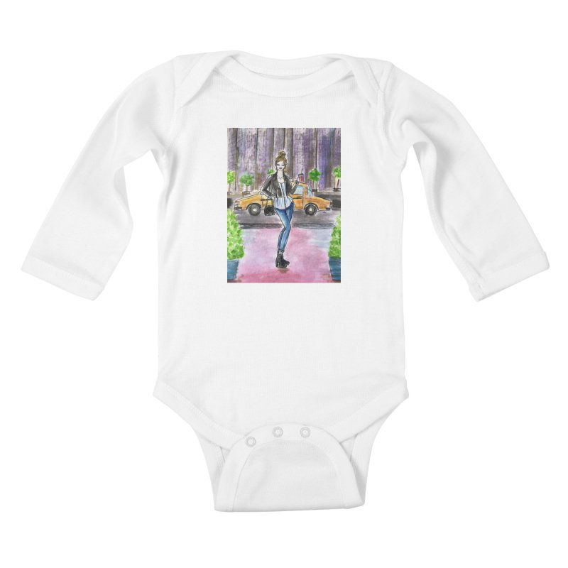 NYC Spring time Taxi Ride Kids Baby Longsleeve Bodysuit by Deanna Kei's Artist Shop