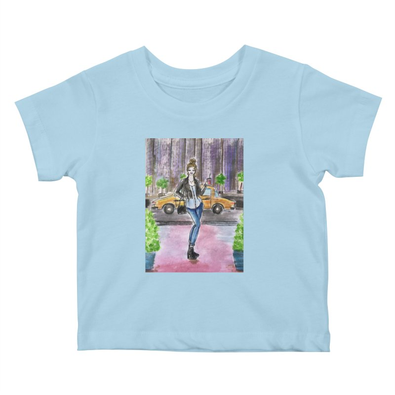NYC Spring time Taxi Ride Kids Baby T-Shirt by Deanna Kei's Artist Shop