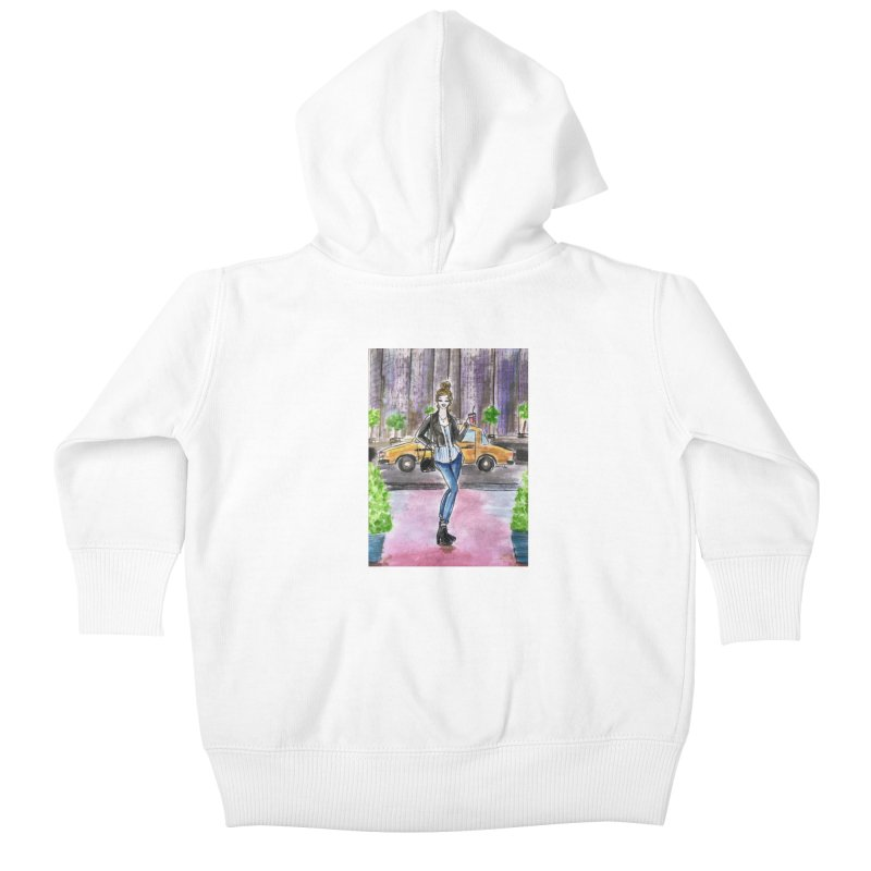 NYC Spring time Taxi Ride Kids Baby Zip-Up Hoody by Deanna Kei's Artist Shop