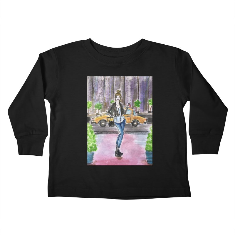 NYC Spring time Taxi Ride Kids Toddler Longsleeve T-Shirt by Deanna Kei's Artist Shop