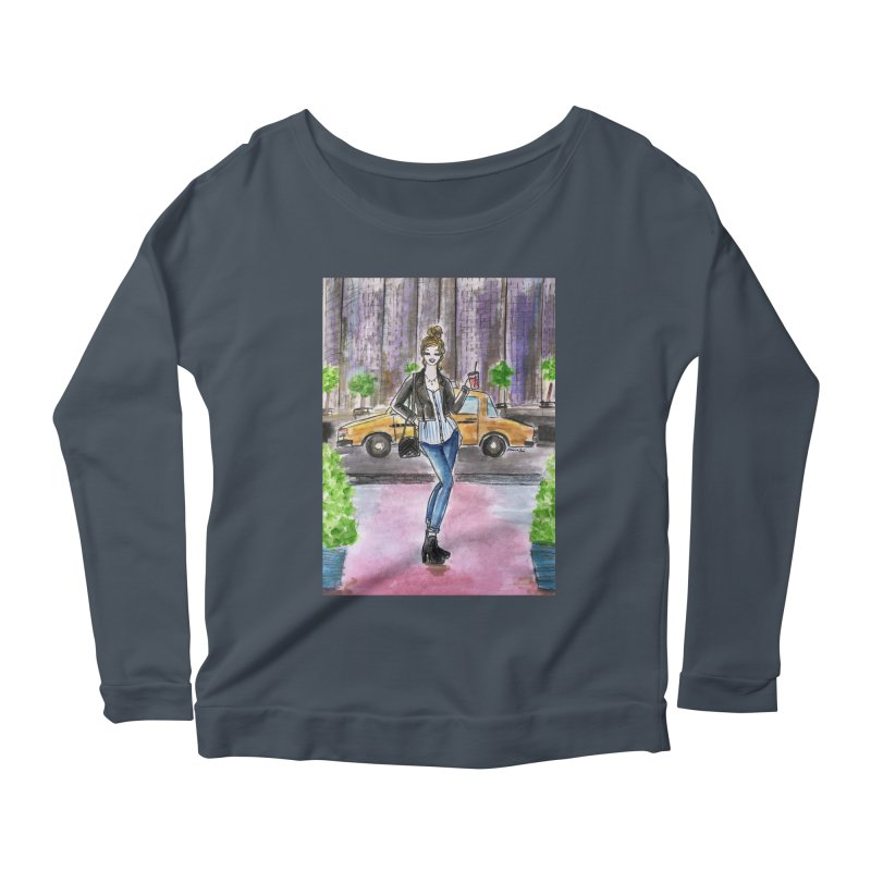 NYC Spring time Taxi Ride Women's Scoop Neck Longsleeve T-Shirt by Deanna Kei's Artist Shop