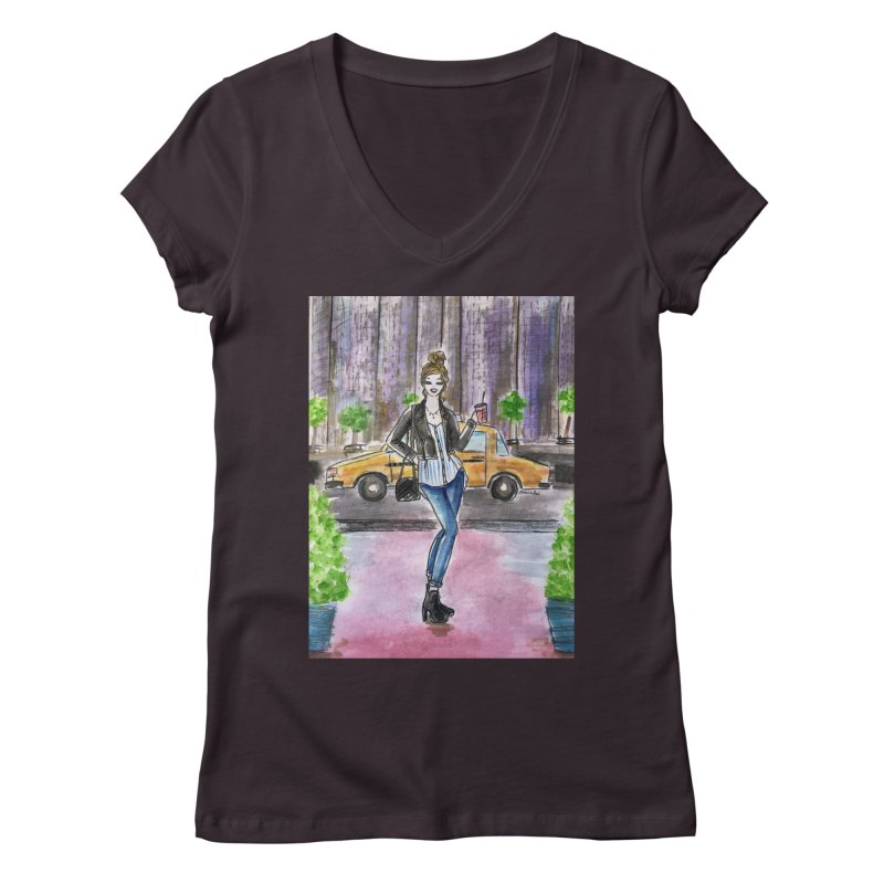NYC Spring time Taxi Ride Women's Regular V-Neck by Deanna Kei's Artist Shop