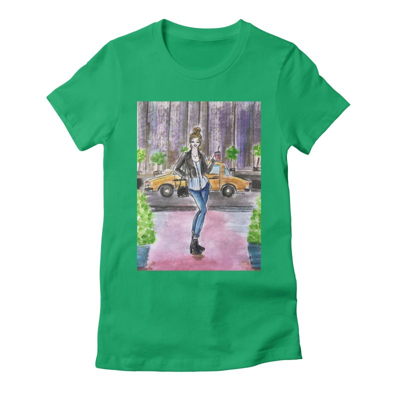 NYC Spring time Taxi Ride Women's Fitted T-Shirt by Deanna Kei's Artist Shop