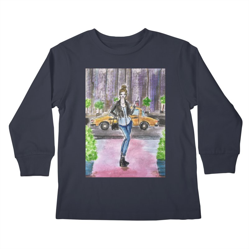 NYC Spring time Taxi Ride Kids Longsleeve T-Shirt by Deanna Kei's Artist Shop
