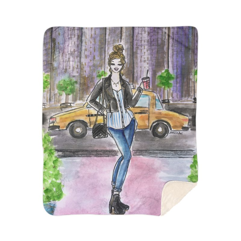 NYC Spring time Taxi Ride Home Sherpa Blanket Blanket by Deanna Kei's Artist Shop