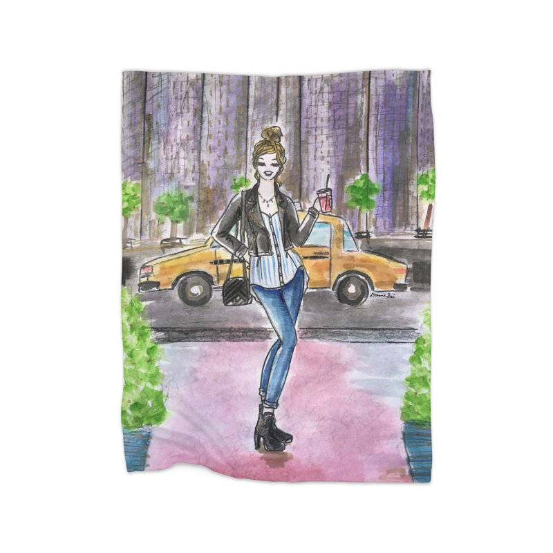 NYC Spring time Taxi Ride Home Fleece Blanket Blanket by Deanna Kei's Artist Shop