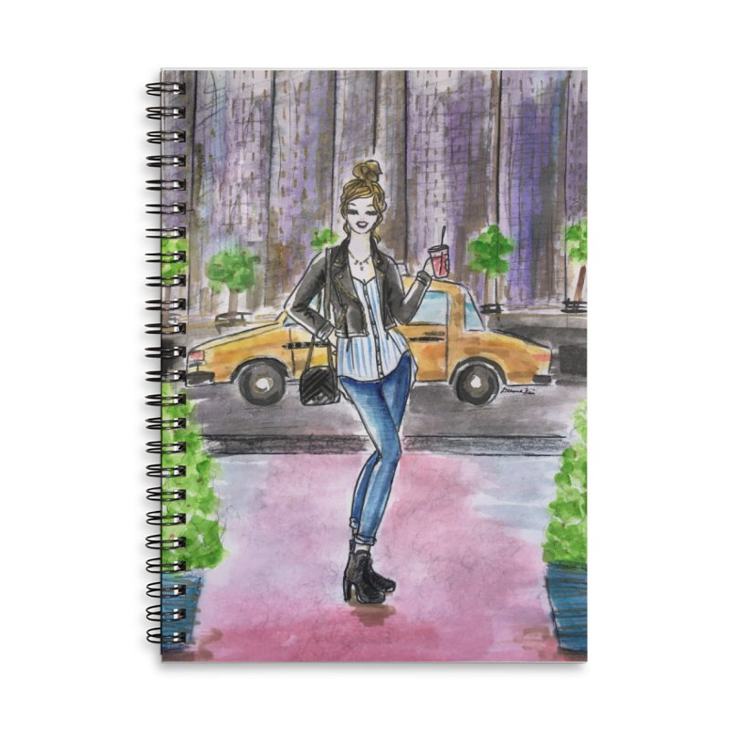 NYC Spring time Taxi Ride Accessories Lined Spiral Notebook by Deanna Kei's Artist Shop
