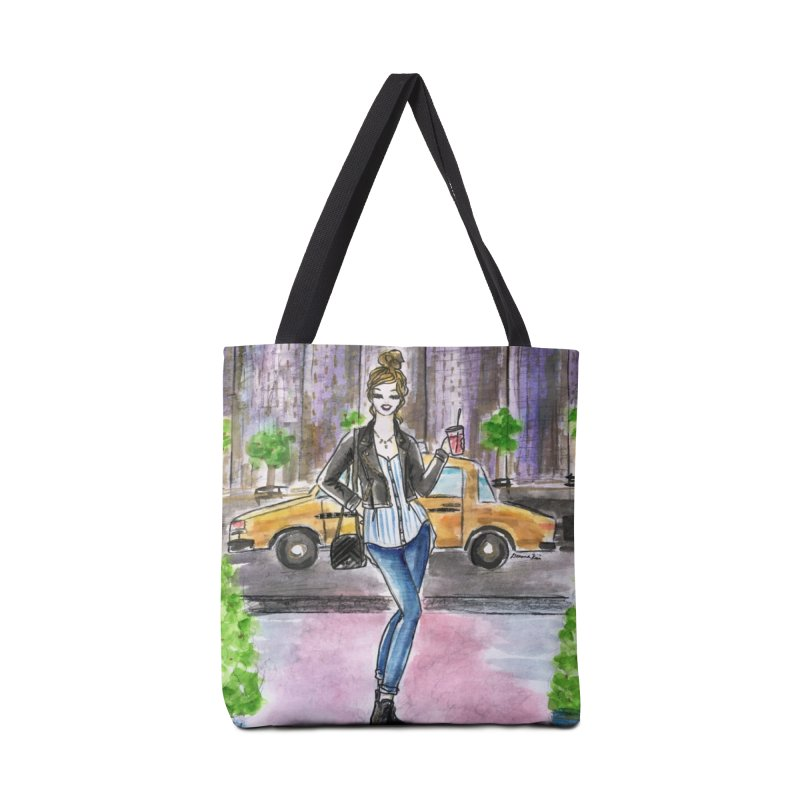 NYC Spring time Taxi Ride Accessories Tote Bag Bag by Deanna Kei's Artist Shop