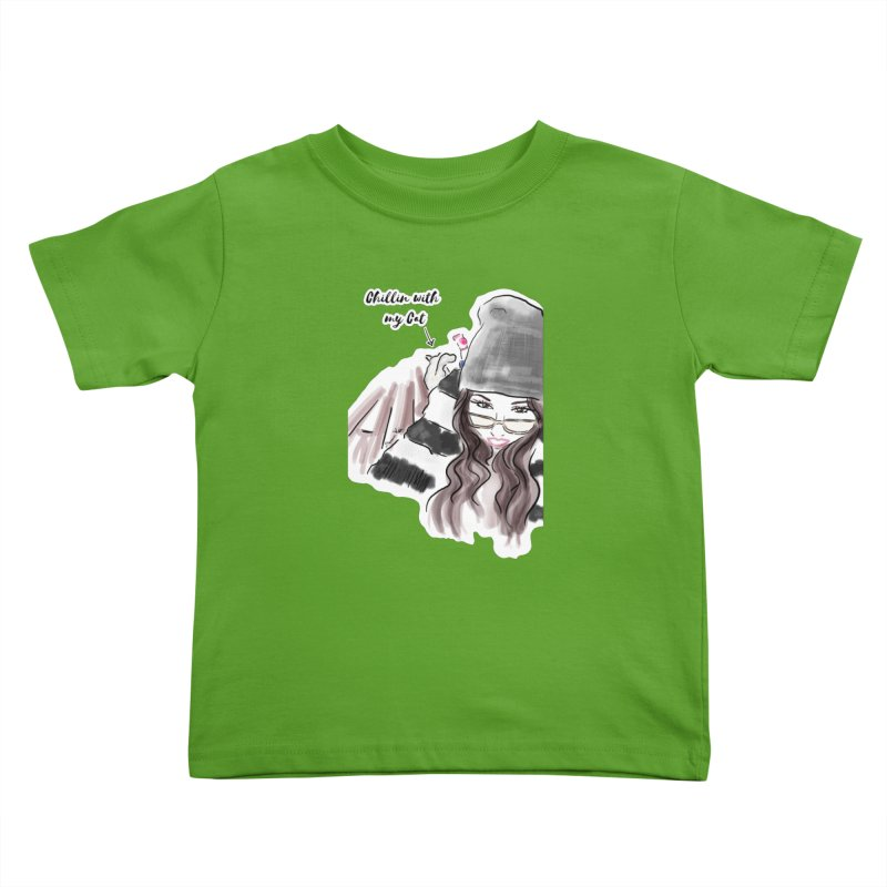 Chillin with my Cat Kids Toddler T-Shirt by Deanna Kei's Artist Shop