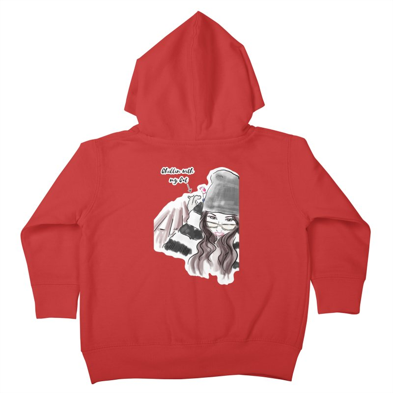 Chillin with my Cat Kids Toddler Zip-Up Hoody by Deanna Kei's Artist Shop