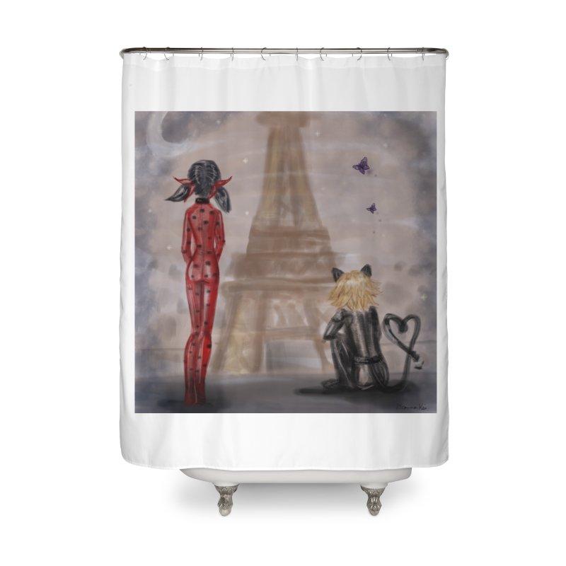 Ladybug and Cat Noir Rendevous Home Shower Curtain by deannakei's Artist Shop