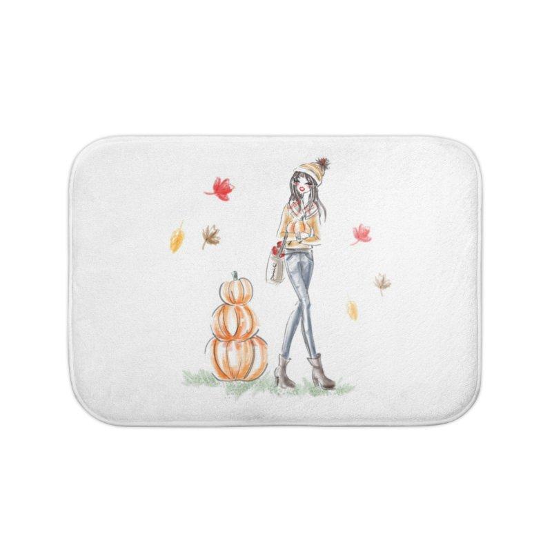 Fall Pumpkin Girl Home Bath Mat by deannakei's Artist Shop