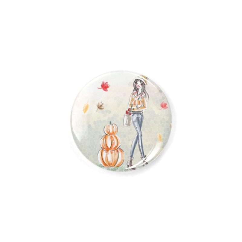 Fall Pumpkin Girl Accessories Button by Deanna Kei's Artist Shop