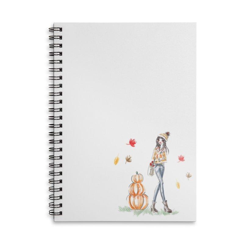 Fall Pumpkin Girl Accessories Lined Spiral Notebook by deannakei's Artist Shop