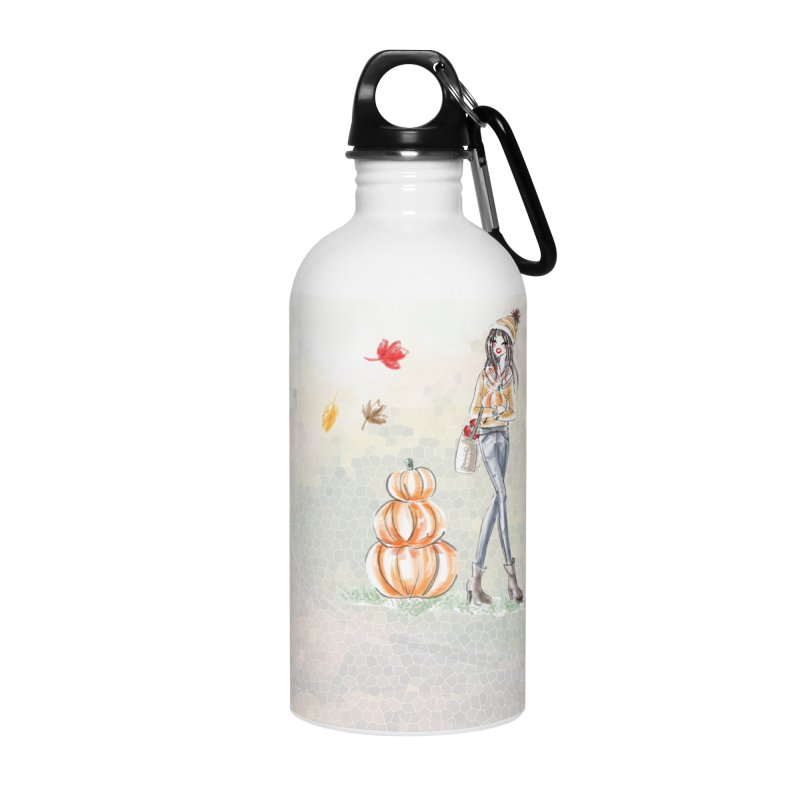 Fall Pumpkin Girl Accessories Water Bottle by Deanna Kei's Artist Shop