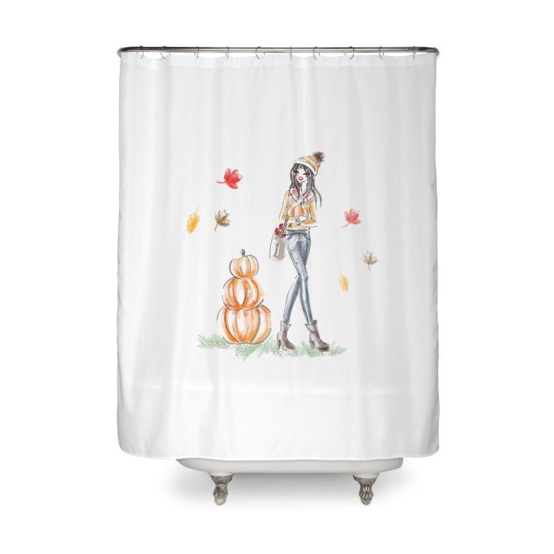 Fall Pumpkin Girl Home Shower Curtain by deannakei's Artist Shop