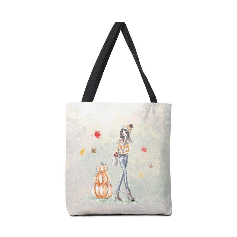 Fall Pumpkin Girl in Tote Bag by Deanna Kei's Artist Shop