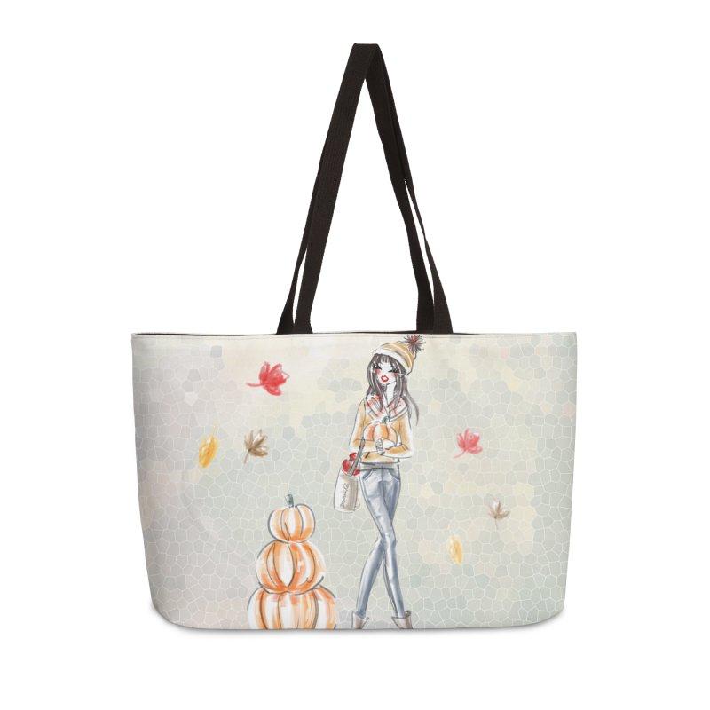 Fall Pumpkin Girl in Weekender Bag by Deanna Kei's Artist Shop