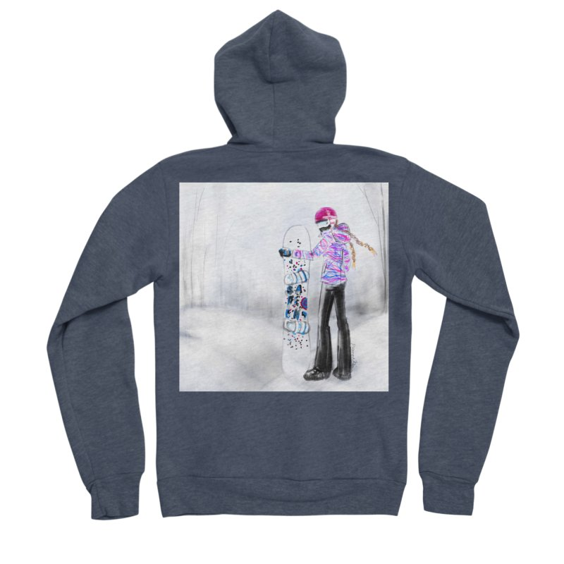Snowboarder Girl Men's Sponge Fleece Zip-Up Hoody by deannakei's Artist Shop