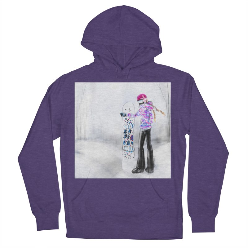 Snowboarder Girl Women's French Terry Pullover Hoody by deannakei's Artist Shop