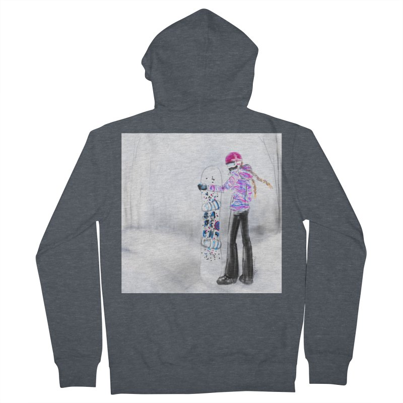 Snowboarder Girl Women's French Terry Zip-Up Hoody by deannakei's Artist Shop