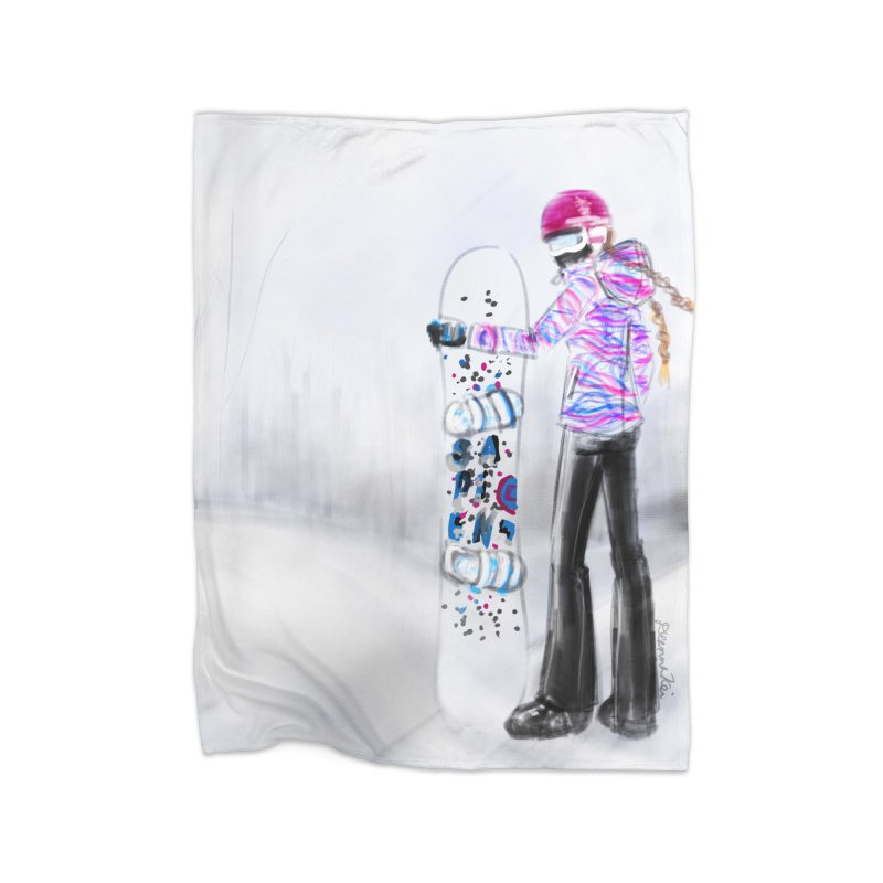 Snowboarder Girl Home Blanket by deannakei's Artist Shop