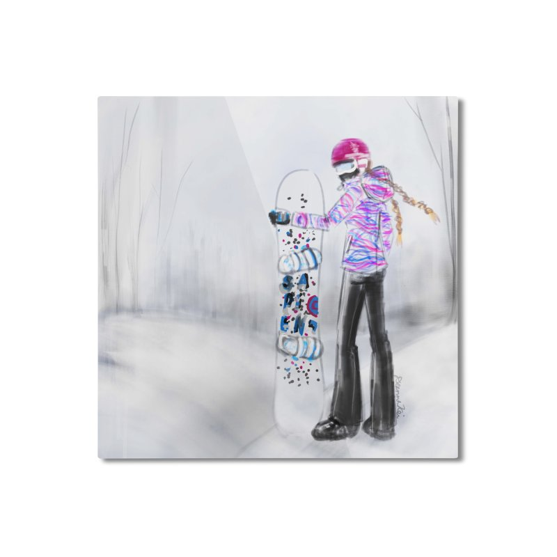 Snowboarder Girl Home Mounted Aluminum Print by deannakei's Artist Shop