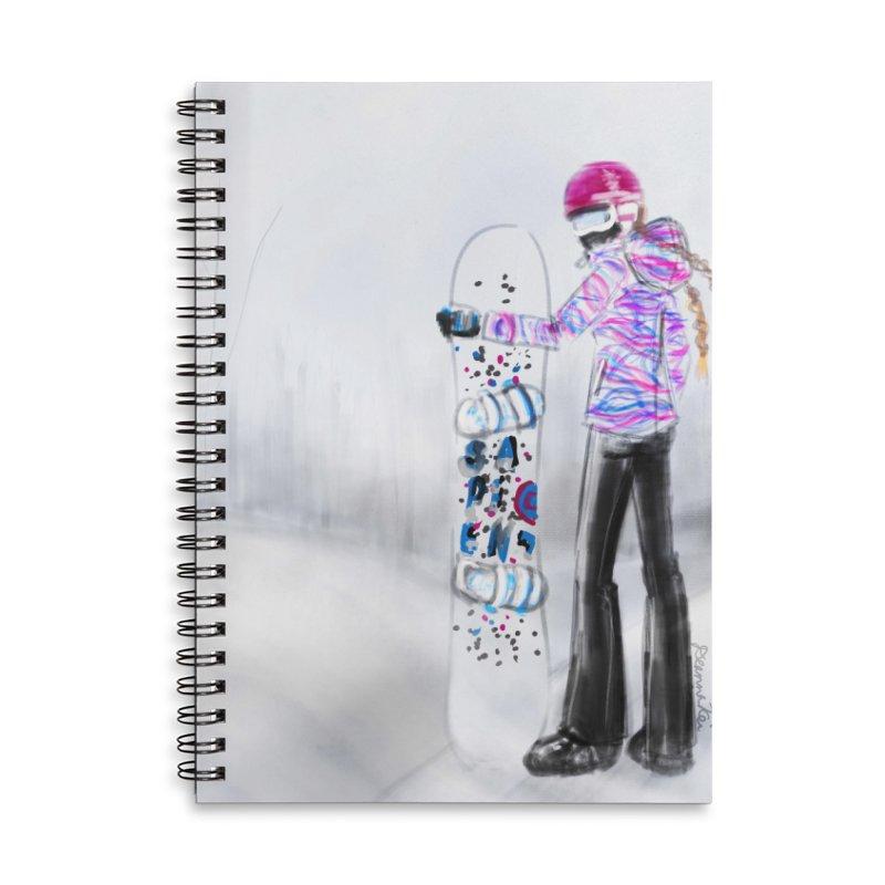 Snowboarder Girl Accessories Lined Spiral Notebook by deannakei's Artist Shop