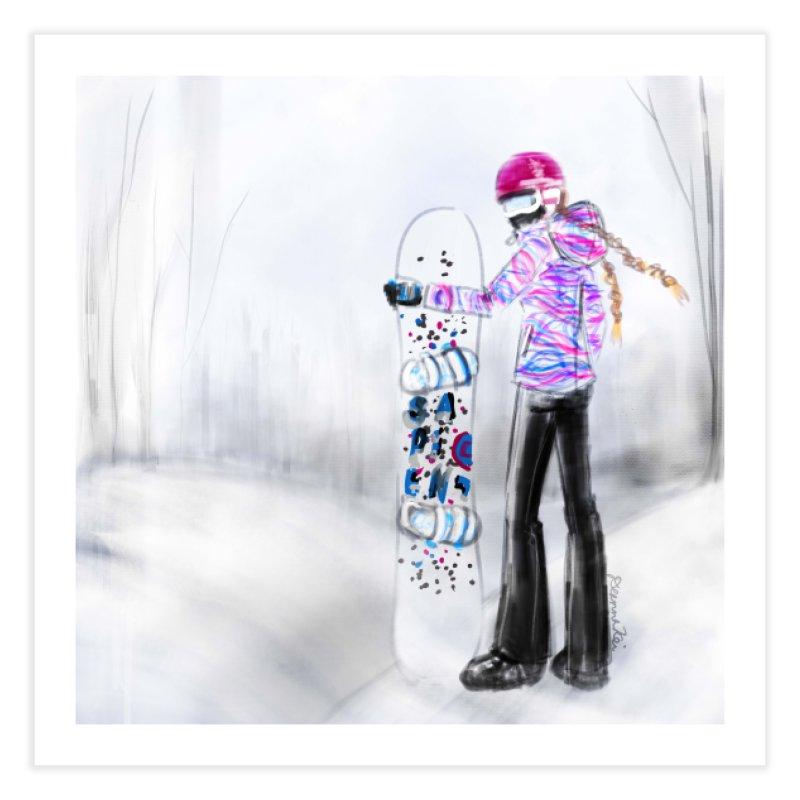 Snowboarder Girl Home Fine Art Print by deannakei's Artist Shop
