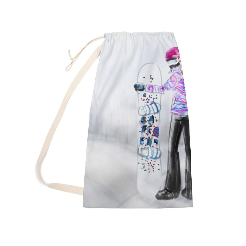 Snowboarder Girl Accessories Laundry Bag Bag by deannakei's Artist Shop
