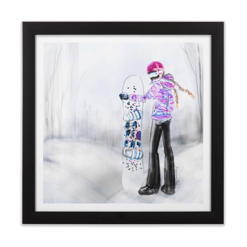 Snowboarder Girl Home Framed Fine Art Print by deannakei's Artist Shop