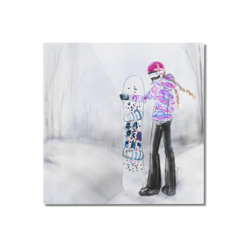 Snowboarder Girl Home Mounted Acrylic Print by deannakei's Artist Shop