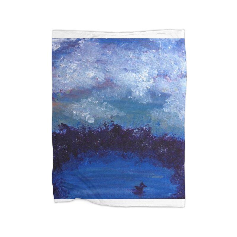 Midnight Lake Home Fleece Blanket Blanket by deannakei's Artist Shop