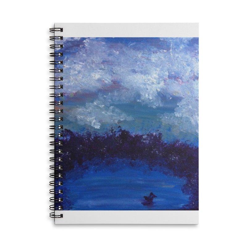 Midnight Lake Accessories Lined Spiral Notebook by deannakei's Artist Shop
