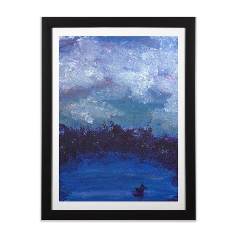 Midnight Lake Home Framed Fine Art Print by deannakei's Artist Shop