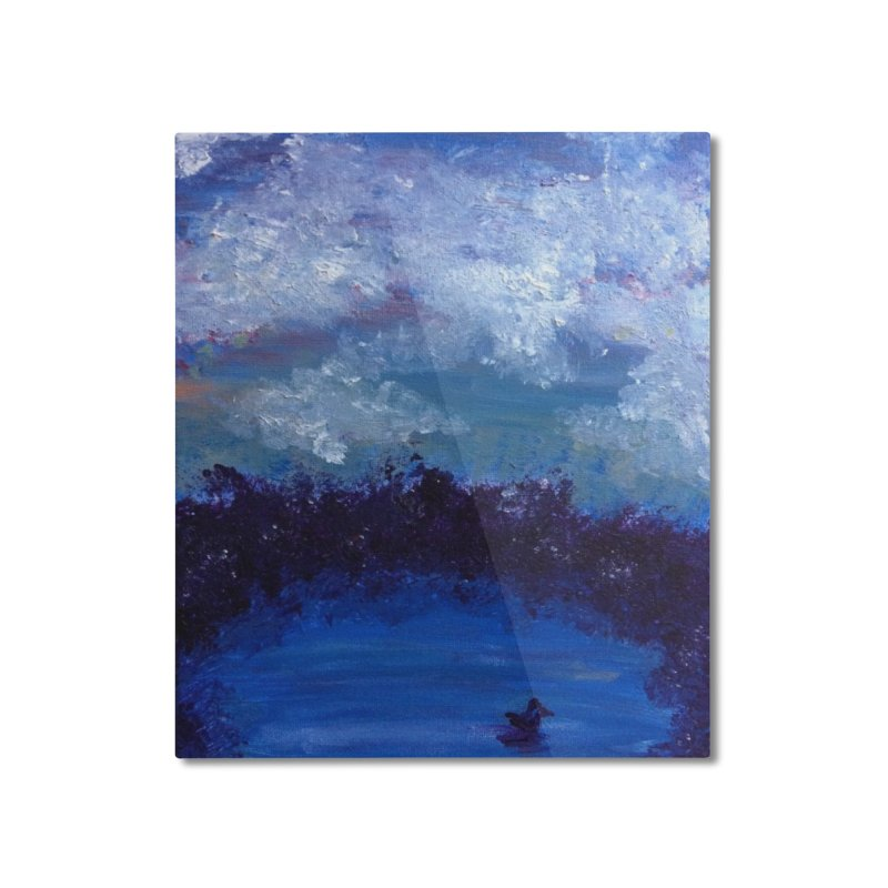 Midnight Lake Home Mounted Aluminum Print by deannakei's Artist Shop