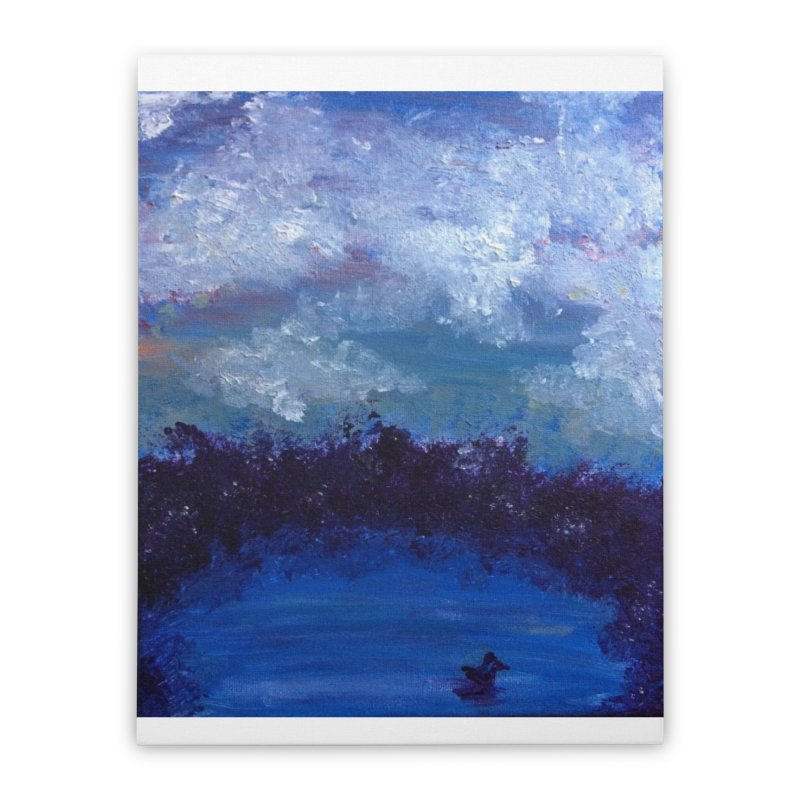 Midnight Lake Home Stretched Canvas by deannakei's Artist Shop