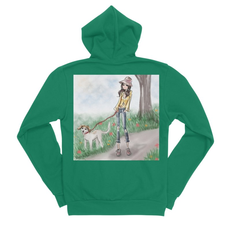 A walk in the Park Women's Sponge Fleece Zip-Up Hoody by Deanna Kei's Artist Shop