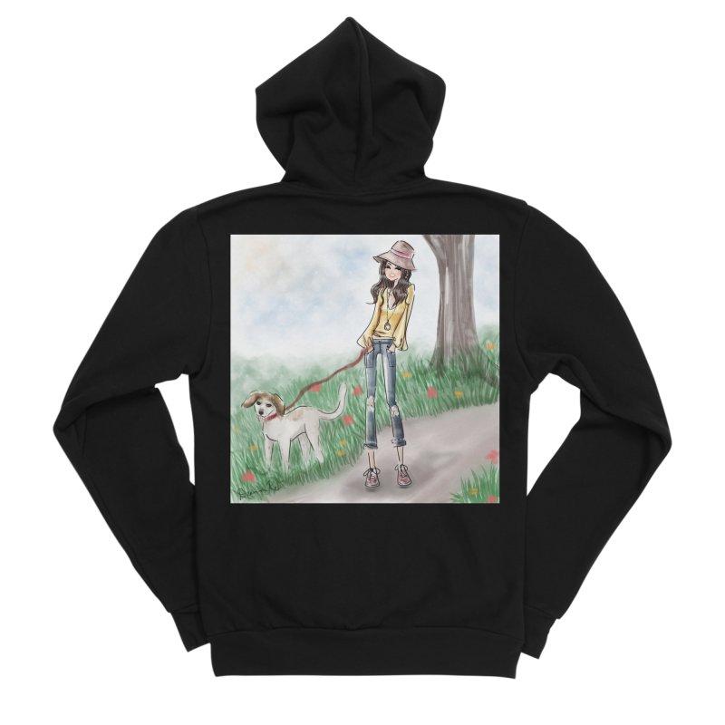A walk in the Park Men's Sponge Fleece Zip-Up Hoody by deannakei's Artist Shop