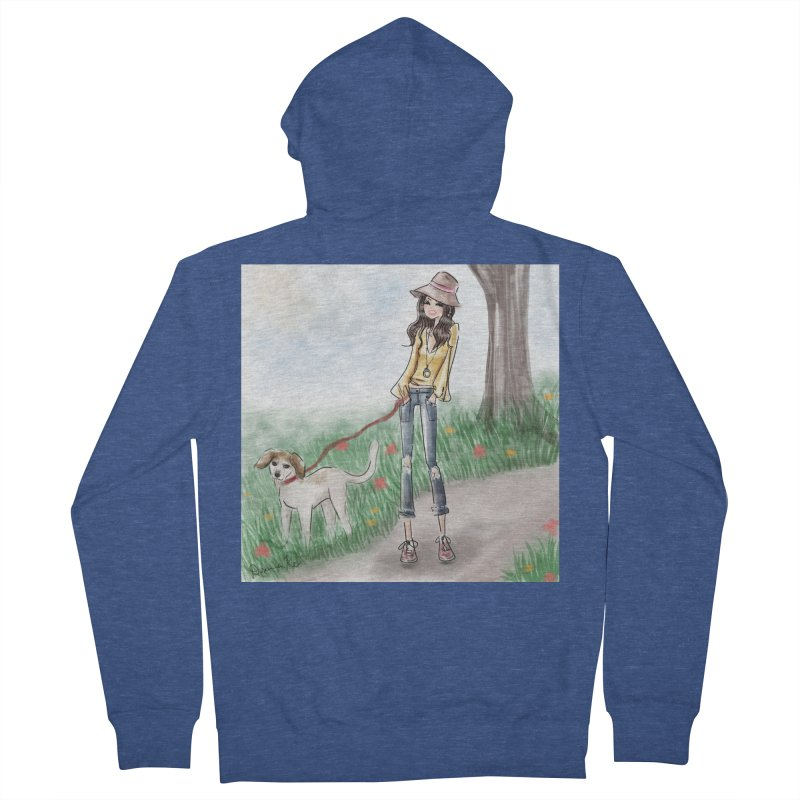 A walk in the Park Women's French Terry Zip-Up Hoody by deannakei's Artist Shop