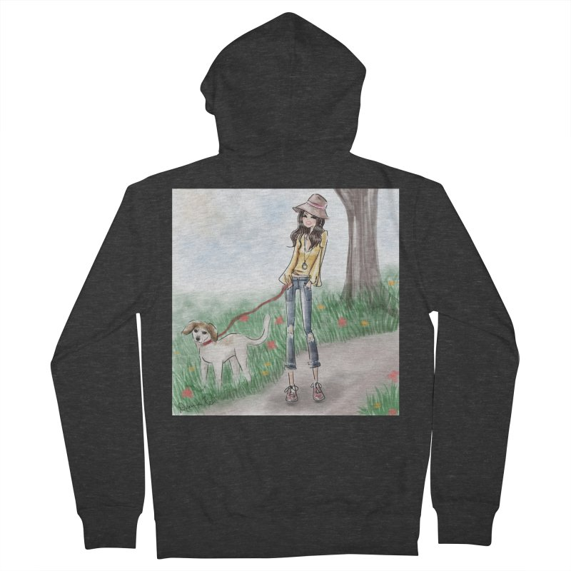 A walk in the Park Men's French Terry Zip-Up Hoody by deannakei's Artist Shop