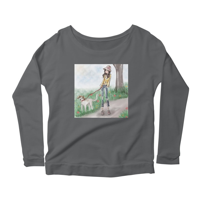 A walk in the Park Women's Scoop Neck Longsleeve T-Shirt by Deanna Kei's Artist Shop