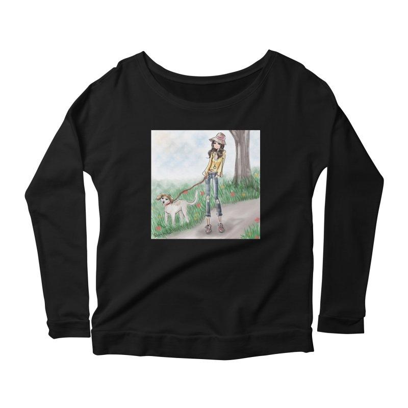 A walk in the Park Women's Scoop Neck Longsleeve T-Shirt by Deanna Kei's Artist Shop